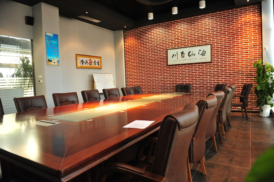 brightly coloured meeting room